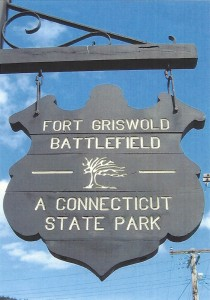 The sign at the entrance to Fort Griswold Battlefield State Park in Groton, CT