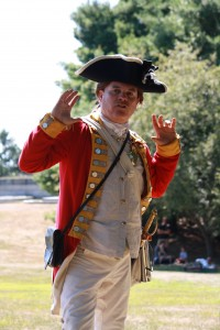 Benedict Arnold outside the Ebenezer Avery House at Fort Griswold in Groton, CT